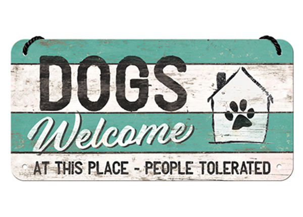 Retro metallijuliste DOGS WELCOME 10x20 cm SG-126799