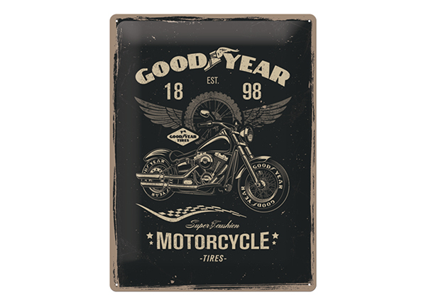Retrotyylinen metallijuliste GOODYEAR MOTORCYCLE 30x40 cm SG-132759