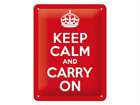 Retrotyylinen metallijuliste KEEP CALM AND CARRY ON 15x20 cm
