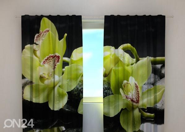Puolipimentävä verho CITREOUS ORCHIDS 240x220 cm