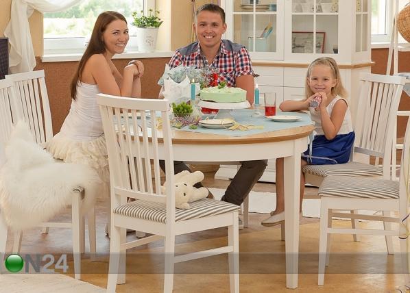 Jatkettava ruokapöytä FAMILY 105×165-215 cm, valkoinen+tammi