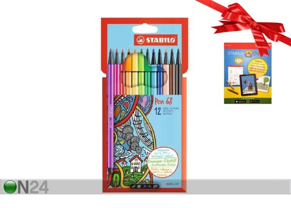 Stabilo kuitukärkikynät Pen 68, 12 väriä