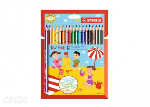 Puuvärikynät STABILO TRIO, 18 väriä