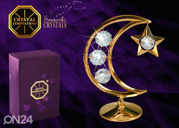Koriste-esine dekoratiivi kristalleilla KUU JA TÄHTI