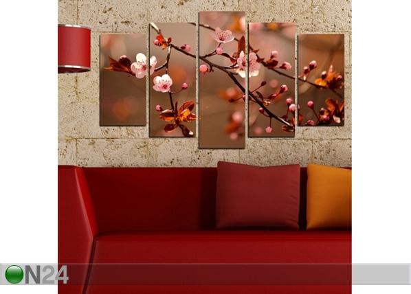 Viisiosainen seinätaulu BLOSSOM 100x60 cm