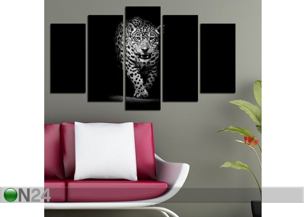 Viisiosainen seinätaulu BIG CAT I, 100x60 cm