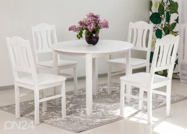 Ruokailuryhmä 100x100-139 cm + tuolit PER 4 kpl, valkoinen