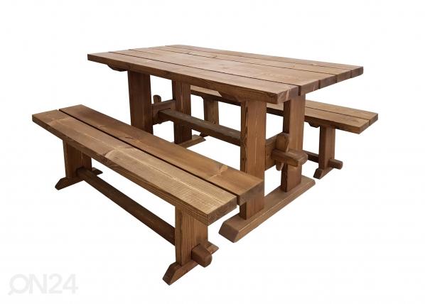 Puutarhapöytä ja penkit 150 cm