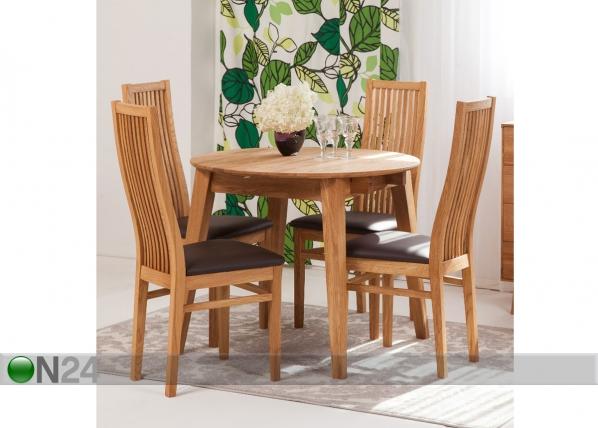 Tammi jatkettava ruokapöytä BASEL 90-130×90 cm + 4 tuolia SANDRA