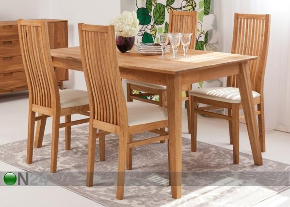 Tammi ruokapöytä GENF 140×90 cm + 4 tuolia SANDRA