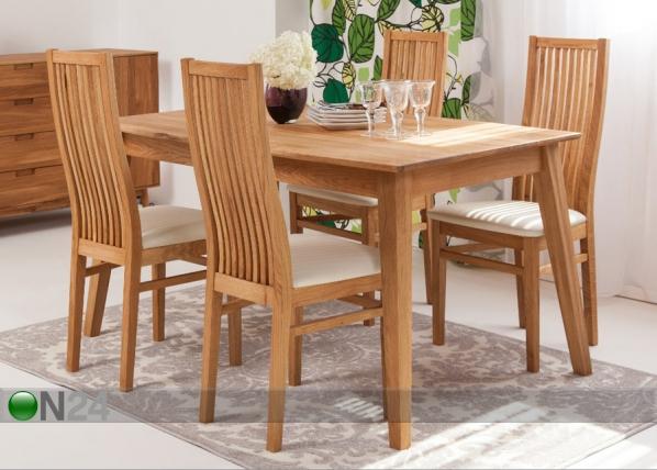 Tammi ruokapöytä GENF 160×90 cm + 4 tuolia SANDRA