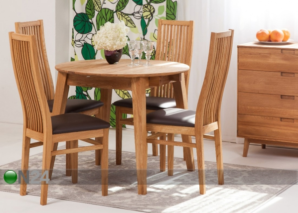 Tammi jatkettava ruokapöytä BASEL 110-160×110 cm + 4 tuolia SANDRA