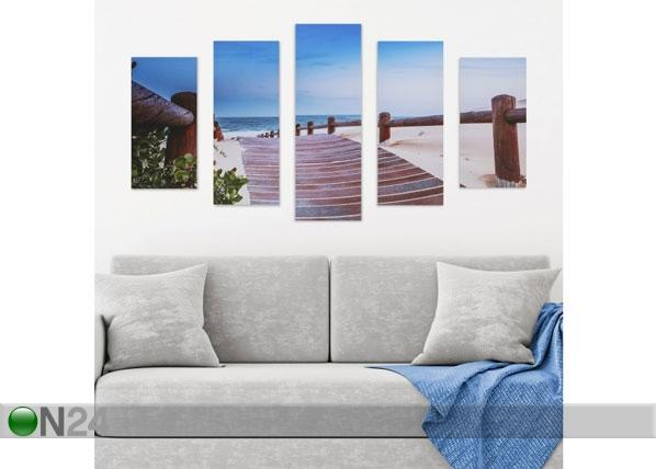 Viisiosainen seinätaulu BEACH WALKWAY 160x60 cm