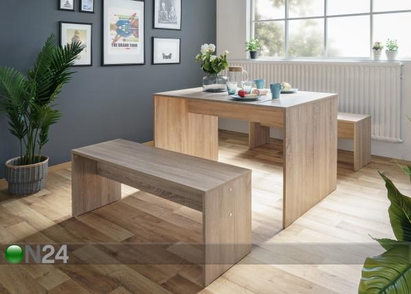 Ruokapöytä 118x78 cm + 2 penkkiä