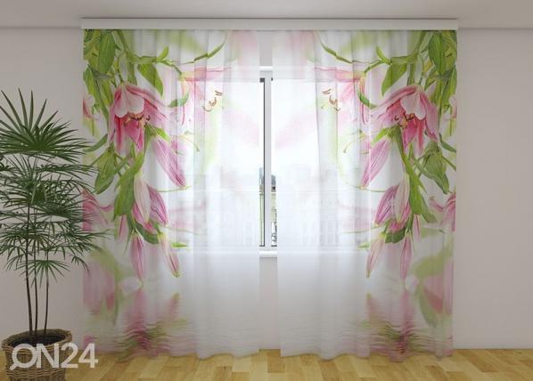 Sifonki-kuvaverho PINK LILIES 240x220 cm