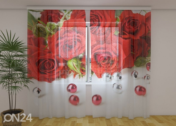 Sifonki-kuvaverho ROSE AND BEADS 240x220 cm