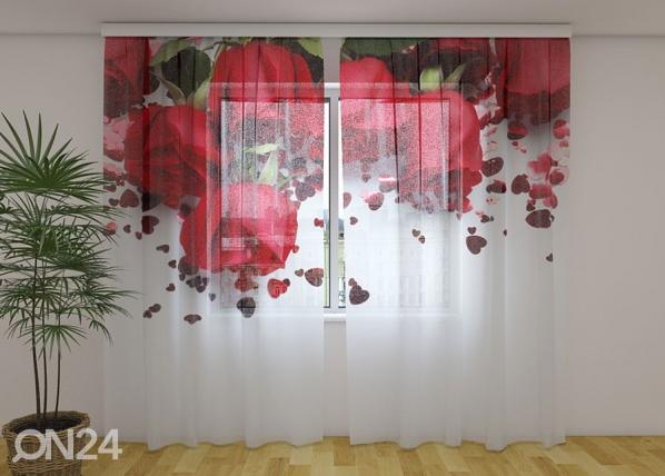 Sifonki-kuvaverho ROSES AND HEARTS 240x220 cm