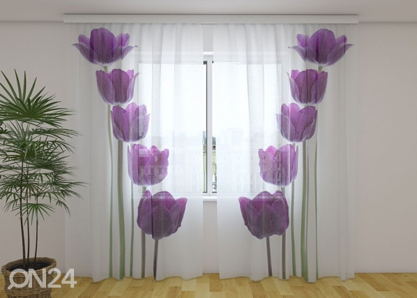 Sifonki-kuvaverho SPRING TULIPS 240x220 cm