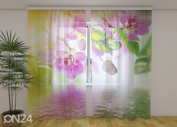 Sifonki-kuvaverho SUMMER ORCHIDS 240x220 cm