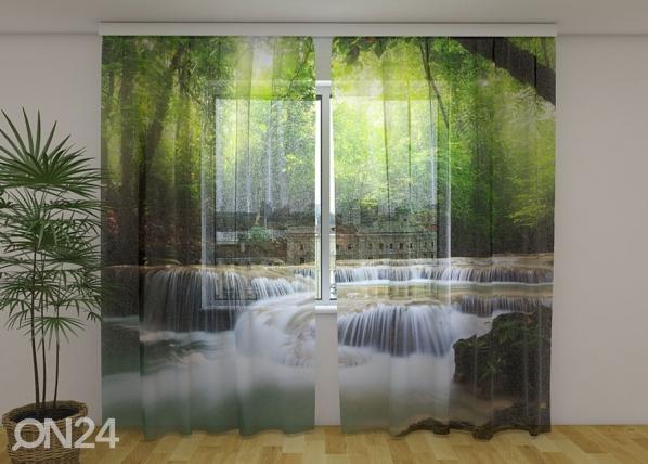 Sifonki-kuvaverho WATERFALL IN SPRING FOREST 240x220 cm