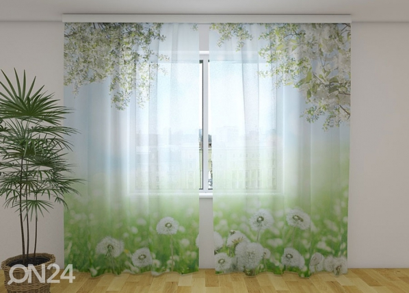 Sifonki-kuvaverho WHITE DANDELIONS 240x220 cm