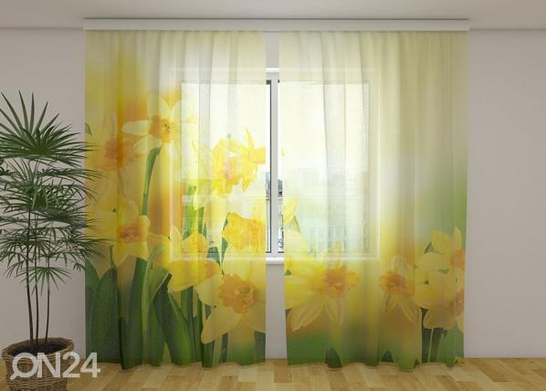 Sifonki-kuvaverho YELLOW DAFFODILS 2, 240x220 cm