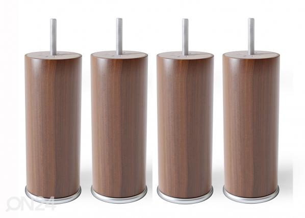 Pyöreät puujalat metallireunalla 15 cm