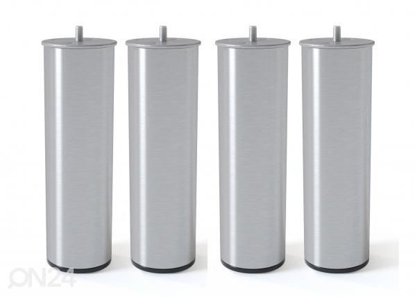 Silinterimuotoinen metallijalka, harjattu hopeansävy 20 cm