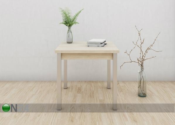 Jatkettava ruokapöytä 80x80-147 cm, valkaistu tammi