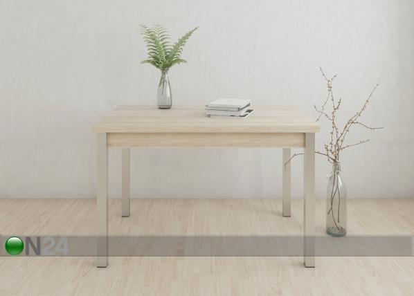 Jatkettava ruokapöytä 80x120-187 cm, valkaistu tammi