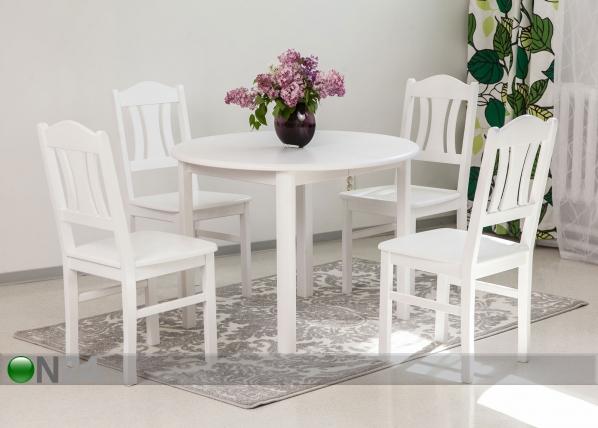 Ruokailuryhmä ADA2 100x100-178 cm ja tuolit PER 4 kpl