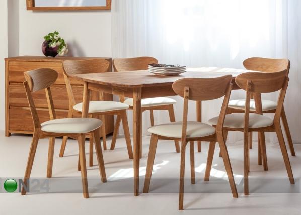 Tammi ruokapöytä SCAN 140x90 cm+ 6 tuolia IRMA