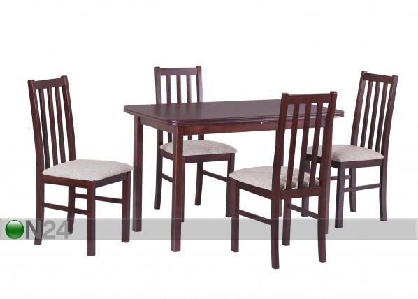Jatkettava ruokapöytä 160-200x90 cm+ 4 tuolia