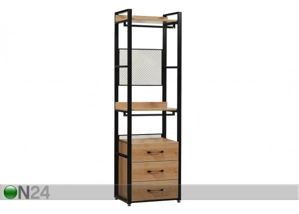 Vaatekaappijärjestelmä 60x200 cm (2 hyllyä + 2 tankoa + laatikosto)
