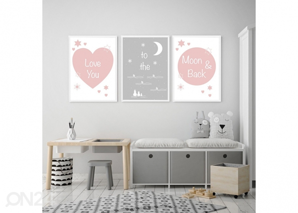 Kolmeosainen seinätaulu Love you to the moon and back