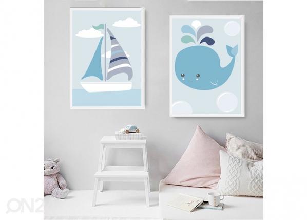 Kaksiosainen seinätaulu Elämä merellä