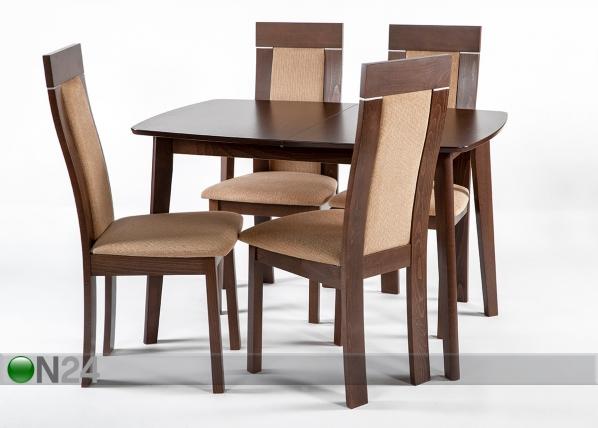 Jatkettava ruokapöytä Bari ja 4 tuolia Imeria, vaalea wenge