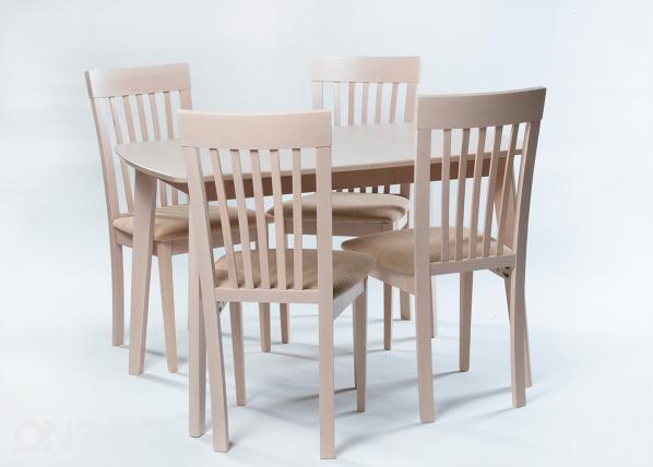 Jatkettava ruokapöytä Bari + 4 tuolia Modena, vaalea pyökki