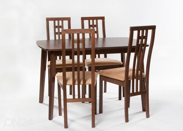 Jatkettava ruokapöytä Bari 80x120-150 cm + 4 tuolia Monza, vaalea wenge