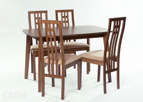 Jatkettava ruokapöytä Bari 80x120-150 cm + 4 tuolia Monza, pähkinä