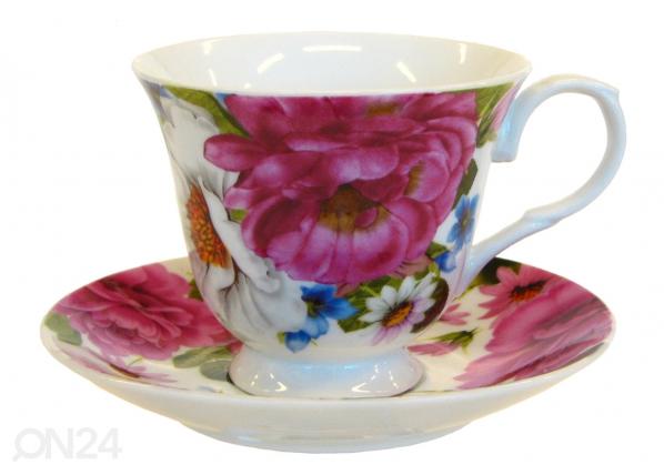 Kahvikuppi ja lautanen RUUSUNMARJA 150 ml, 6 kpl