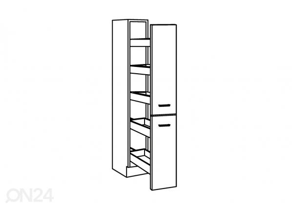 Ulosvedettävä korkea keittiökaappi KLASSIK 60 SM 35633  ON24 Sisustustavaratalo