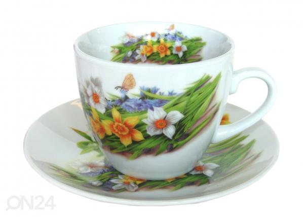 Kahvikuppi ja lautanen NARSISSI 200 ml, 6 kpl