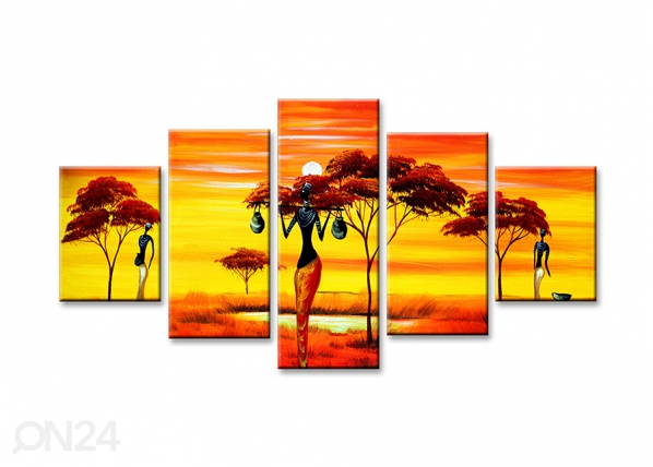 Viisiosainen seinätaulu AFRIKKA