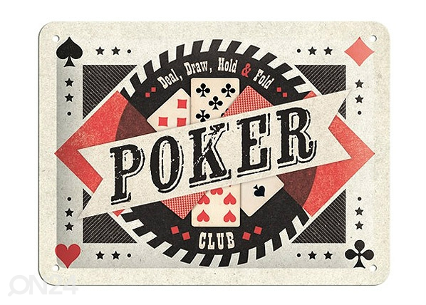 Retrotyylinen metallijuliste POKER CLUB 15x20 cm SG-68151