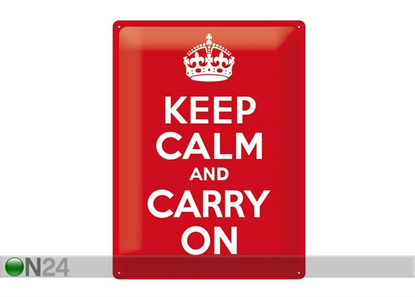 Retrotyylinen metallijuliste KEEP CALM AND CARRY ON 30x40 cm SG-68163
