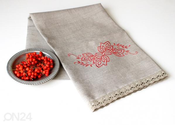 Pellava pyyheliina punainen kuvio