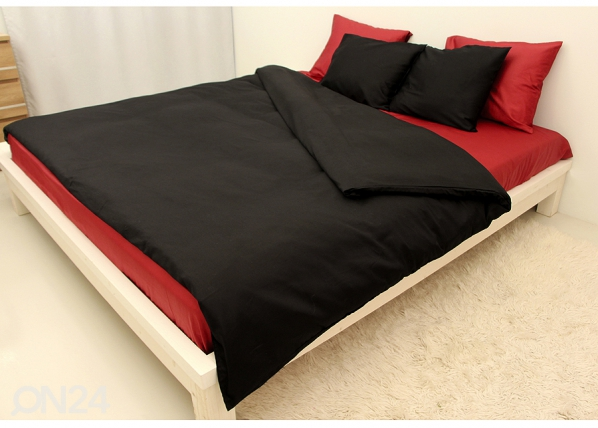 Vuodevaatesetti BLACK-RED satiini 220x210 cm AN-69973