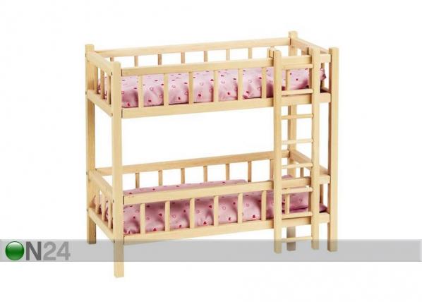 Puinen nuken sänky-kerrossänky tikkailla