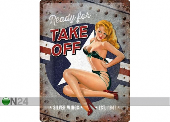 Retrotyylinen metallijuliste PIN UP READY FOR TAKE OFF 30x40 cm SG-74265